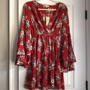 Rust floral dress with layered bell sleeves, S
